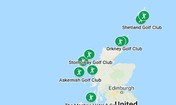 Image with links to Orkney, Shetland, Western Isles golfing area