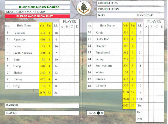 Carnoustie Burnside Course Scorecard.