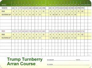 Trump Turnberry Arran Course Scorecard.