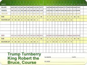 Trump Turnberry King Robert The Bruce Scorecard.