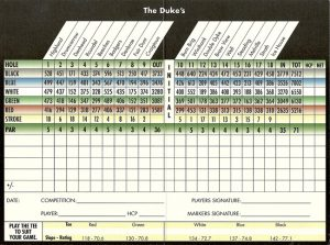 The Dukes Golf Course Scorecard.