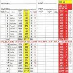 Fereneze Golf Club Scorecard.