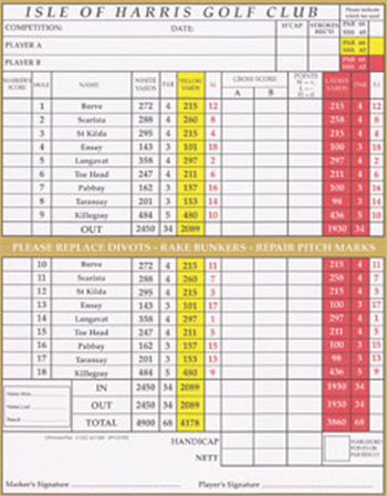 Isle of Harris Golf Club Scorecard.