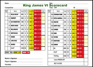 King James VI Golf Club Scorecard.