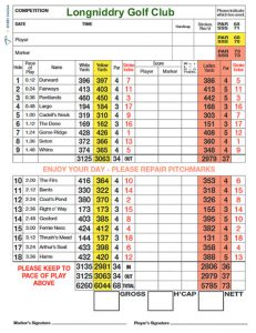 Longniddry Golf Club Scorecard.