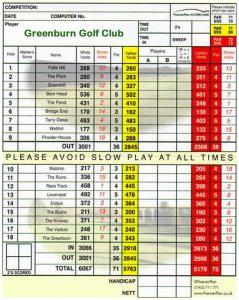 Greenburn Golf Club Scorecard.